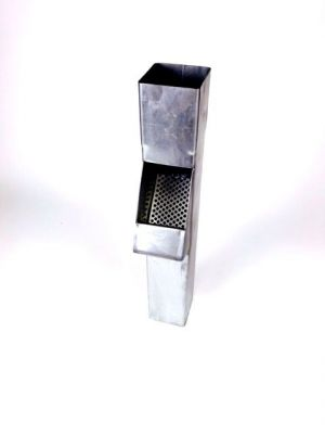 Zinken bladvanger vierkant 80x80mm incl. rvs rooster